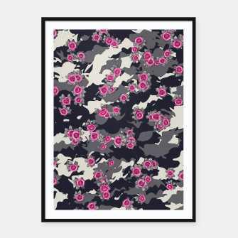 Thumbnail image of Roses Pink Camo URBAN VINTAGE Framed poster, Live Heroes