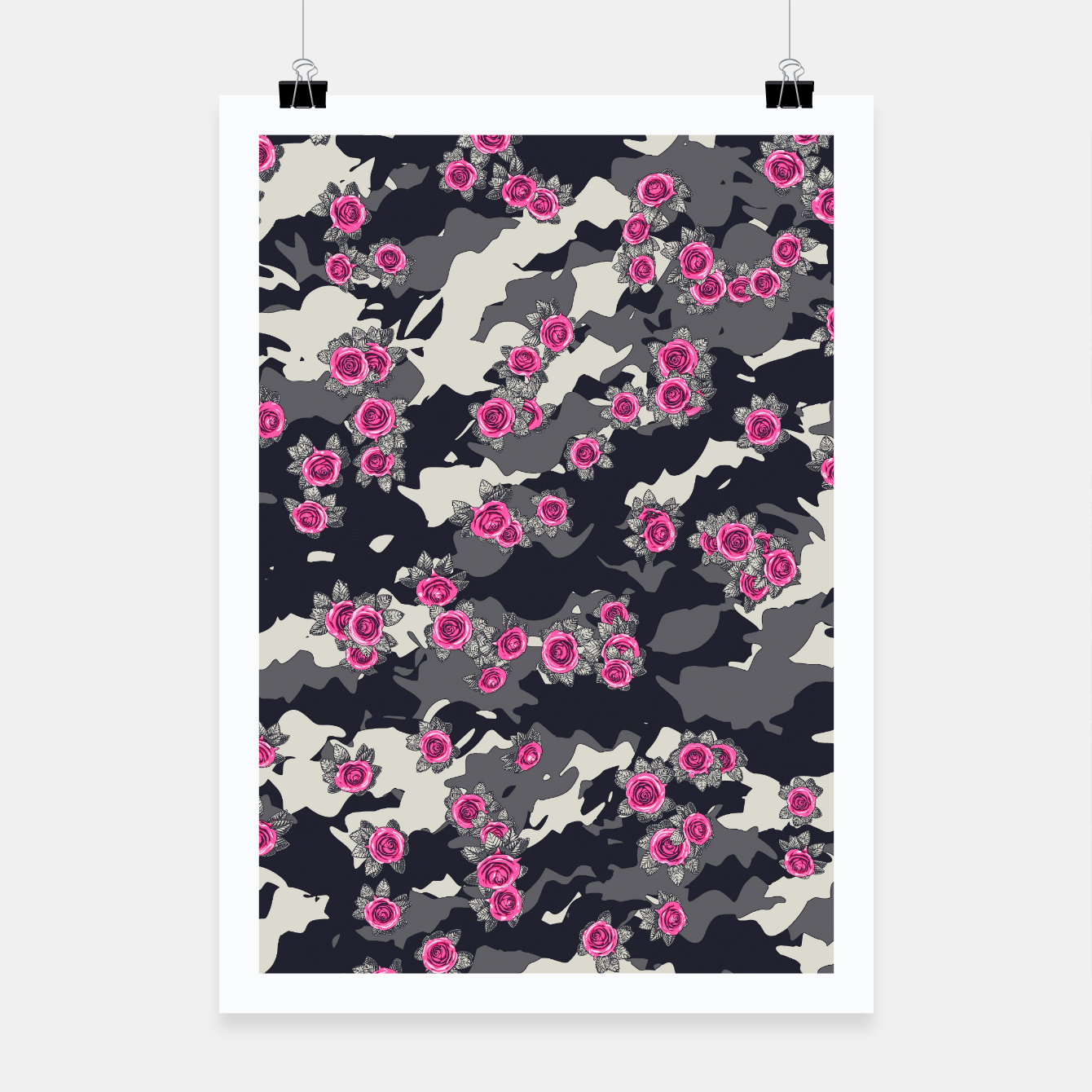 Foto Roses Pink Camo URBAN VINTAGE Poster - Live Heroes