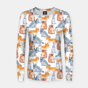 Miniatur Forest animals Women sweater, Live Heroes