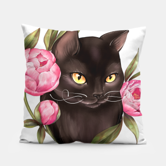 Thumbnail image of Black cat with peonies Pillow, Live Heroes