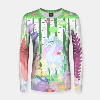 Thumbnail image of Unicorn Glade - visiting birds Women sweater, Live Heroes