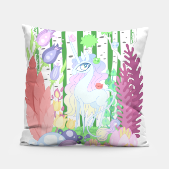 Thumbnail image of Unicorn Glade - visiting birds Pillow, Live Heroes