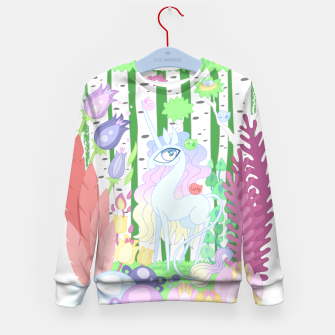 Thumbnail image of Unicorn Glade - visiting birds Kid's sweater, Live Heroes