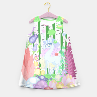 Thumbnail image of Unicorn Glade - visiting birds Girl's summer dress, Live Heroes