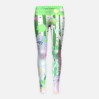 Thumbnail image of Unicorn Glade - visiting birds Girl's leggings, Live Heroes