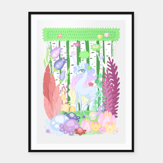 Thumbnail image of Unicorn Glade - visiting birds Framed poster, Live Heroes