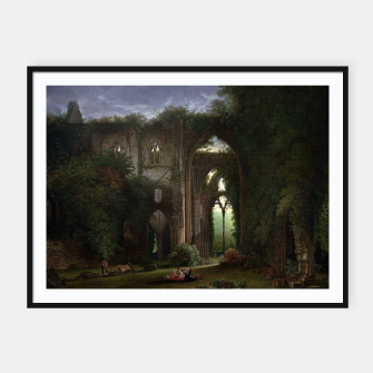 Miniatur Sketching the Ruins of Tintern Abbey by Samuel Colman Framed poster, Live Heroes