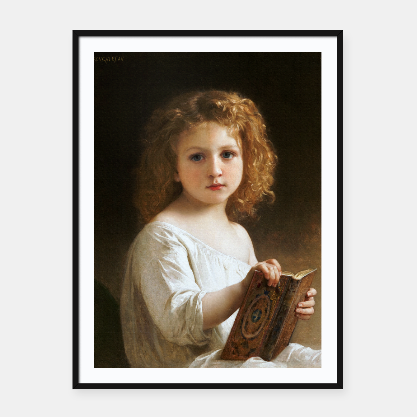Image of The Story Book by William-Adolphe Bouguereau Framed poster - Live Heroes
