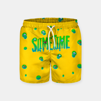 Miniatur Slime Time Typo Funny Monster Illustration Badeshorts, Live Heroes