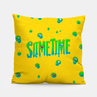 Thumbnail image of Slime Time Typo Funny Monster Illustration Kissen, Live Heroes