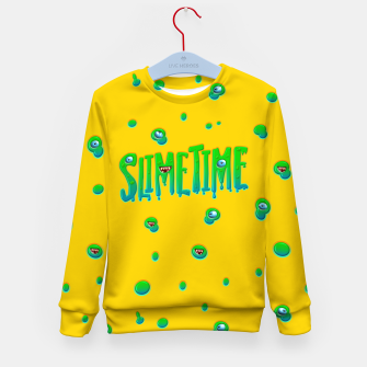 Slime Time Typo Funny Monster Illustration Kindersweatshirt obraz miniatury