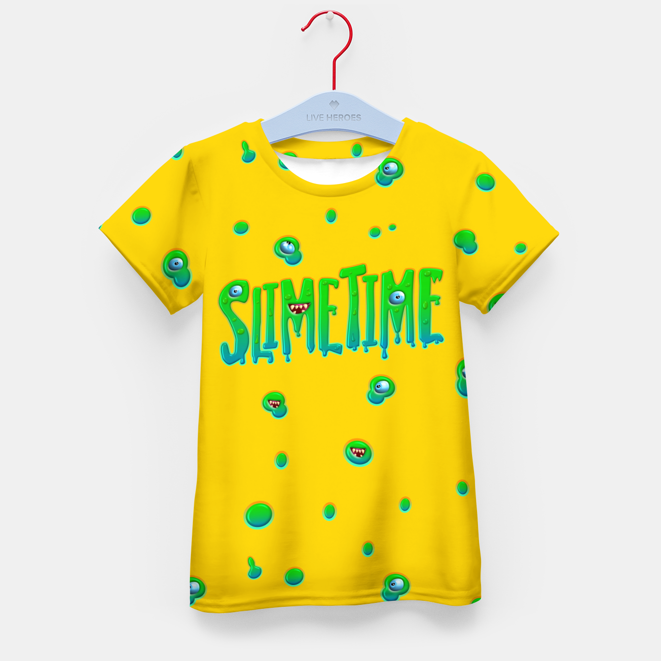 Zdjęcie Slime Time Typo Funny Monster Illustration T-Shirt für kinder - Live Heroes