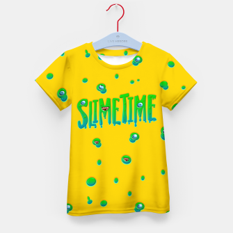 Slime Time Typo Funny Monster Illustration T-Shirt für kinder obraz miniatury