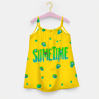 Slime Time Typo Funny Monster Illustration Mädchenkleid obraz miniatury