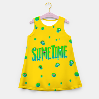 Slime Time Typo Funny Monster Illustration Mädchen-Sommerkleid thumbnail image