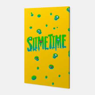 Miniatur Slime Time Typo Funny Monster Illustration Canvas, Live Heroes