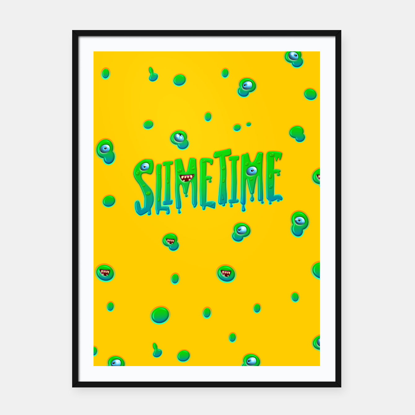 Image of Slime Time Typo Funny Monster Illustration Plakat mit rahmen - Live Heroes