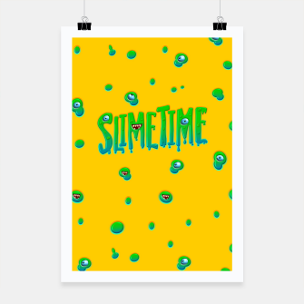 Miniatur Slime Time Typo Funny Monster Illustration Plakat, Live Heroes