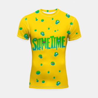 Thumbnail image of Slime Time Typo Funny Monster Illustration Shortsleeve rashguard, Live Heroes