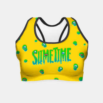 Slime Time Typo Funny Monster Illustration Crop Top obraz miniatury