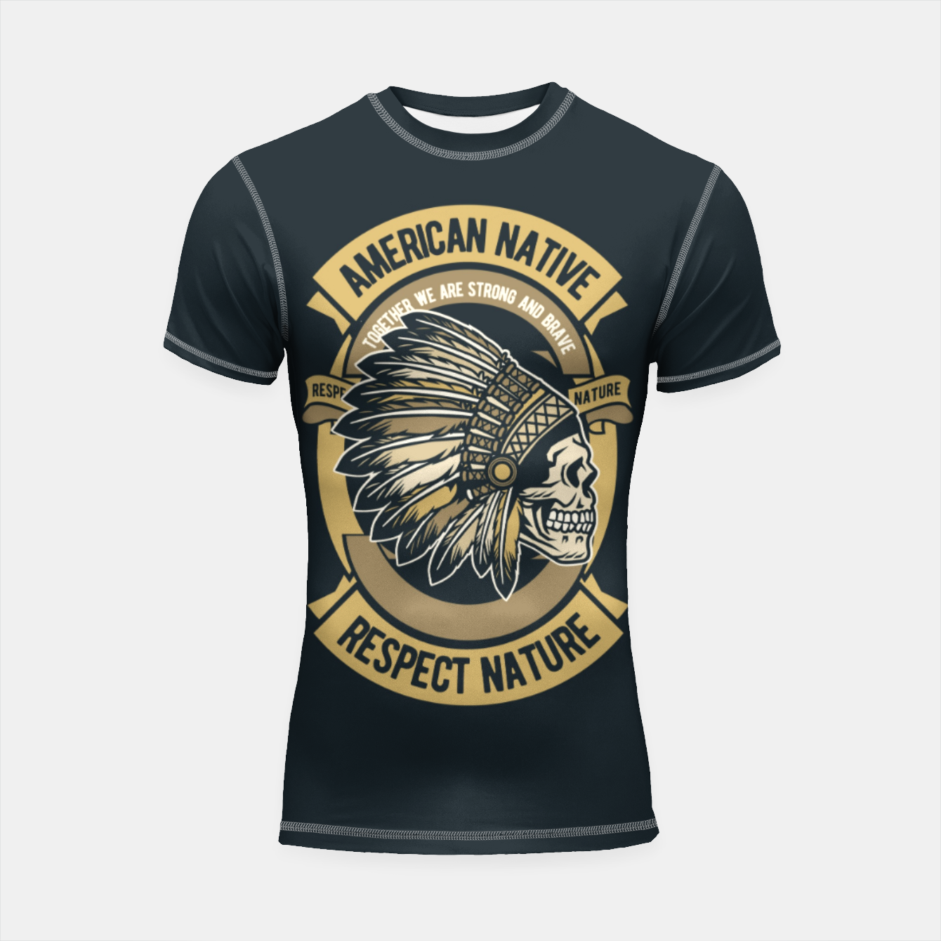 Image of AMERICAN NATIVE - Together we are Strong & Brave Shortsleeve rashguard - Live Heroes