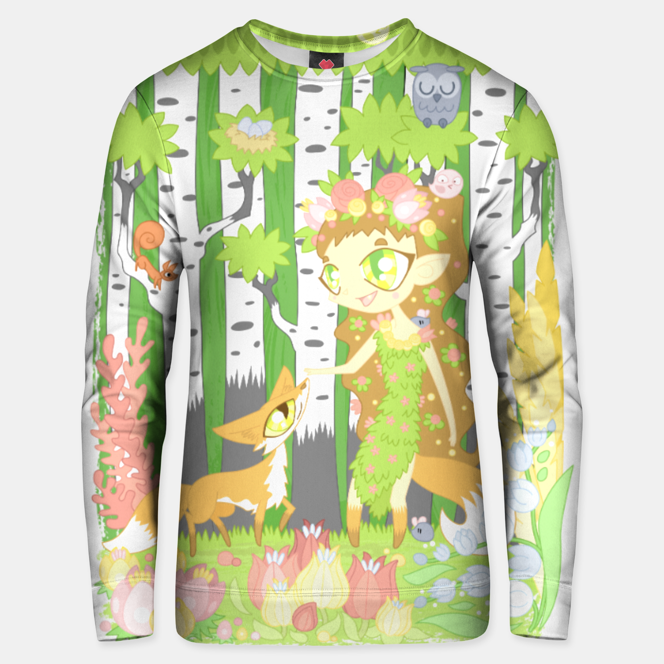 Image of the Forest Guardian (skogsrå) and the Fox Unisex sweater - Live Heroes