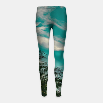 Thumbnail image of Palms on Turquoise - II Girl's leggings, Live Heroes