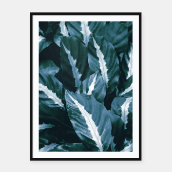 Imagen en miniatura de Blue Green Tropical Jungle Night Leaves #1 #tropical #decor #art Plakat mit rahmen, Live Heroes
