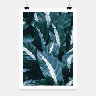 Imagen en miniatura de Blue Green Tropical Jungle Night Leaves #1 #tropical #decor #art Plakat, Live Heroes