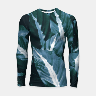 Imagen en miniatura de Blue Green Tropical Jungle Night Leaves #1 #tropical #decor #art Longsleeve rashguard, Live Heroes