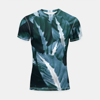 Imagen en miniatura de Blue Green Tropical Jungle Night Leaves #1 #tropical #decor #art Shortsleeve rashguard, Live Heroes