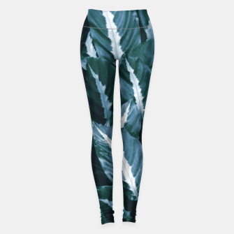 Imagen en miniatura de Blue Green Tropical Jungle Night Leaves #1 #tropical #decor #art Leggings, Live Heroes