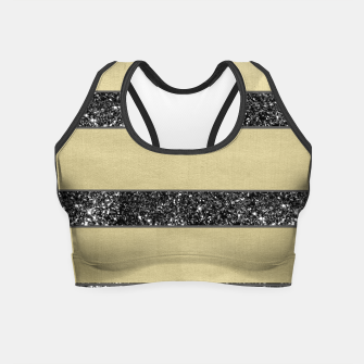 Thumbnail image of Gold Black Glitter Stripes Pattern #1 #minimal #decor #art  Crop Top, Live Heroes