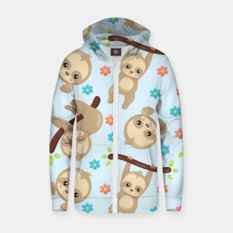 Cute Sloth With Branch Zip up hoodie thumbnail image