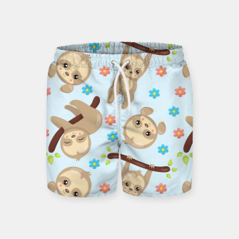 Cute Sloth With Branch Swim Shorts thumbnail image