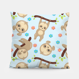 Cute Sloth With Branch Pillow thumbnail image