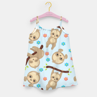Cute Sloth With Branch Girl's dress thumbnail image