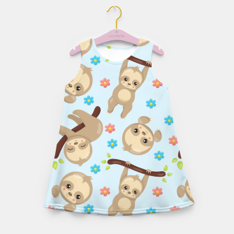 Cute Sloth With Branch Girl's summer dress thumbnail image