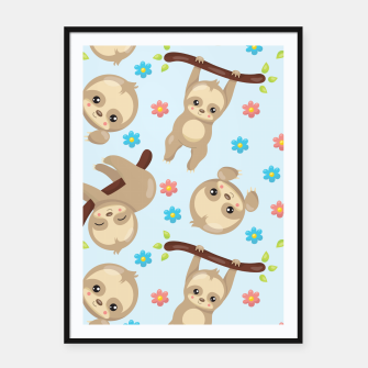 Thumbnail image of Cute Sloth With Branch Framed poster, Live Heroes