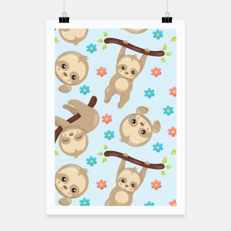 Thumbnail image of Cute Sloth With Branch Poster, Live Heroes