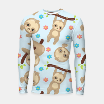 Thumbnail image of Cute Sloth With Branch Longsleeve rashguard , Live Heroes