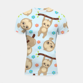 Thumbnail image of Cute Sloth With Branch Shortsleeve rashguard, Live Heroes
