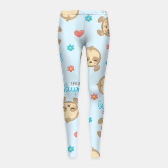 Thumbnail image of Cute Sloth Love Sleeping Girl's leggings, Live Heroes