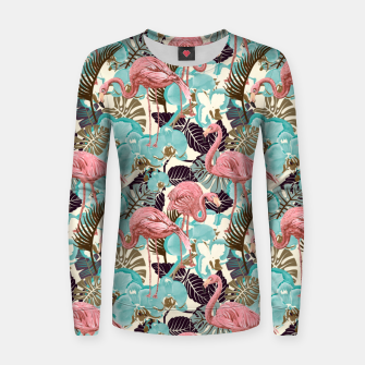 Miniatur Pink Flamingos Women sweater, Live Heroes