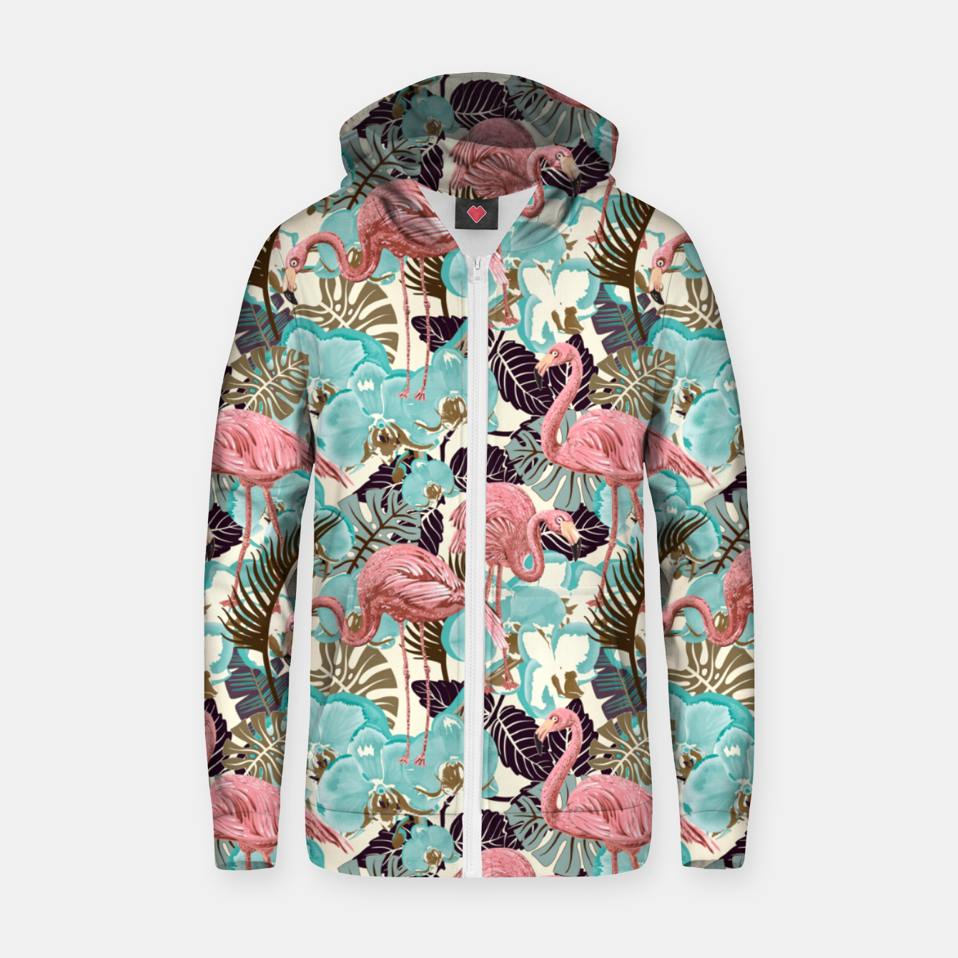 Foto Pink Flamingos Zip up hoodie - Live Heroes