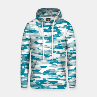 Miniatur Blue Camouflage Pattern Mosaic Style Kapuzenpullover, Live Heroes