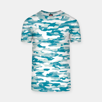 Thumbnail image of Blue Camouflage Pattern Mosaic Style T-Shirt, Live Heroes
