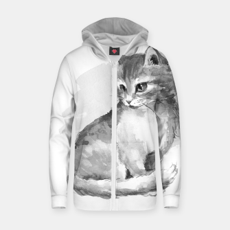 Kitten. Monochrome Zip up hoodie obraz miniatury