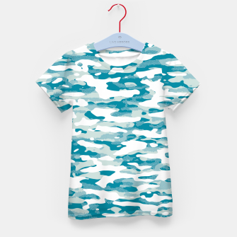 Blue Camouflage Pattern Mosaic Style T-Shirt für kinder thumbnail image