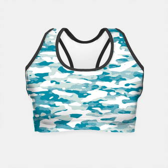Blue Camouflage Pattern Mosaic Style Crop Top thumbnail image